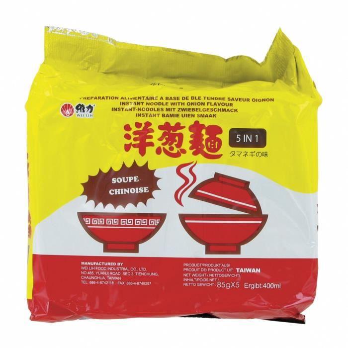 Pack de 5 Soupes / Nouilles instantanées saveur Oignon 85g - Marque Wei Lih - 12 packs (60 sachets)