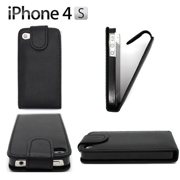 Coque housse cuir pu clapet iphone 4 4s noir achat for Housse iphone 4 cuir