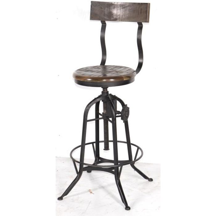tabouret de bar industriel r glable avec dossier 39 atelier grey 39 meuble house noir achat vente. Black Bedroom Furniture Sets. Home Design Ideas