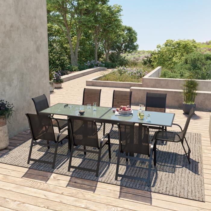 Table De Jardin Extensible Aluminium 140 280cm 8 Fauteuils Empilables Textilène Noir Faro