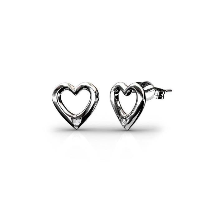 Boucle d'oreille Boucles d'Oreilles Coeur Femme en Plaqué Rhodium,