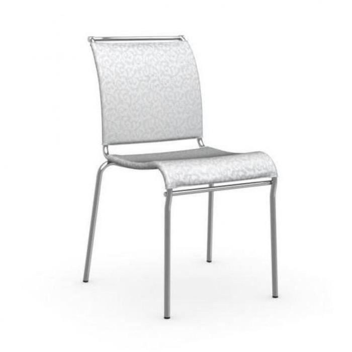 Chaise italienne air en tissu arabesque coloris blanc de for Chaise italienne