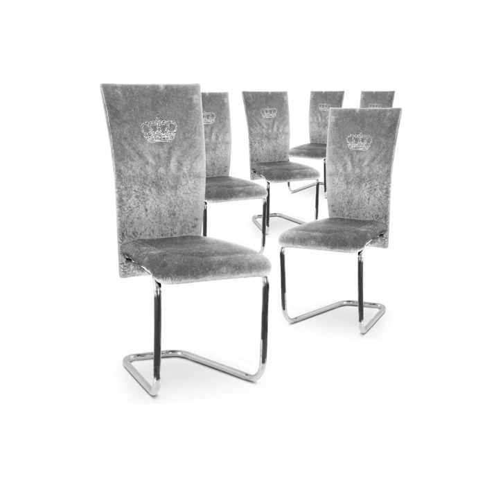 lot de 6 chaises design velours argent royal achat vente chaise gris cdiscount. Black Bedroom Furniture Sets. Home Design Ideas