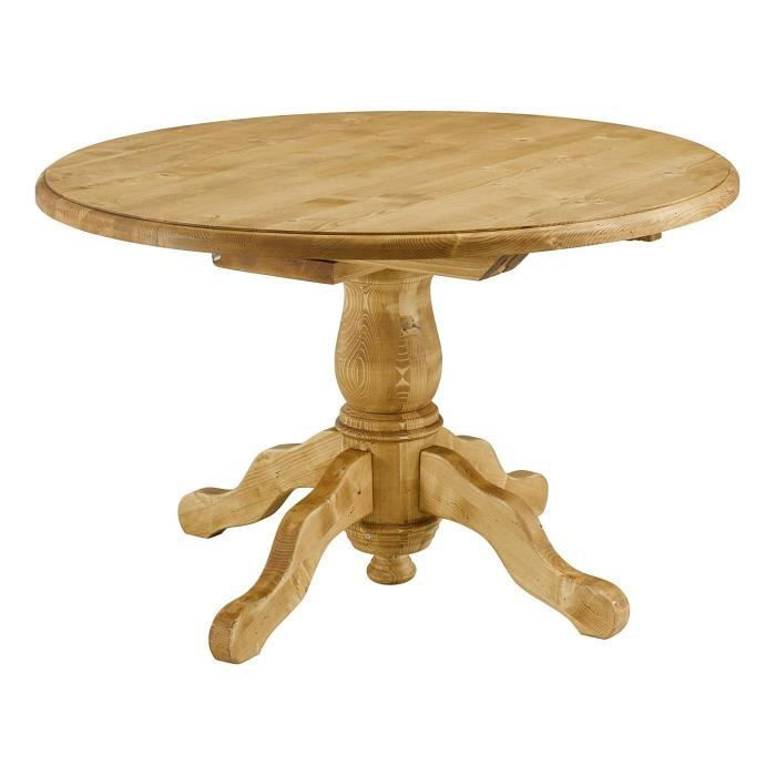 Table ronde sapin massif 120 cm avec allonges oregon for Table ronde en bois avec rallonge