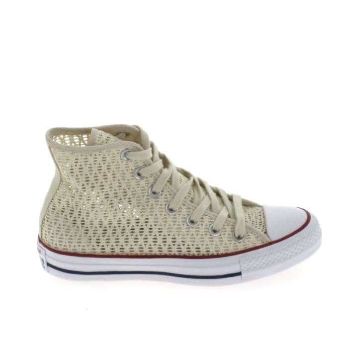 Toile CONVERSE All Star Hi Crochet Ecru PBFOGk5F