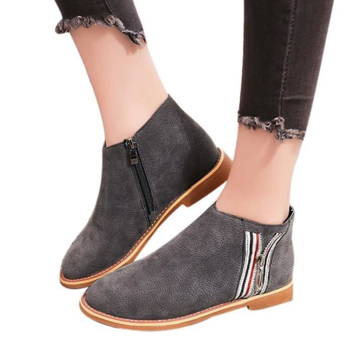 Soft Ankle Leather Vintage Boots Gris 7765 Shoes Flat Comfortable Boot Fashion uji Femmes EqgwwI