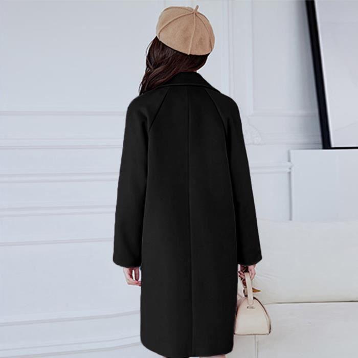 Femmes Caban Le travail des femmes solides Vintage Bureau d'hiver Bouton à manches longues Woollen manteau de veste @Noir