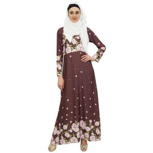 ROBE bimba numérique islamic abaya brun imprimé robe de
