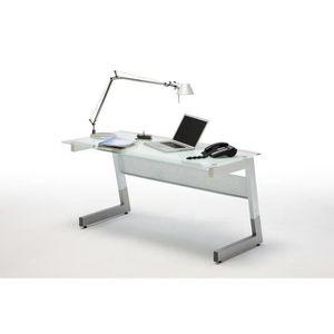 BUREAU  Bureau en metal et verre blanc - L150 x H78 x P80