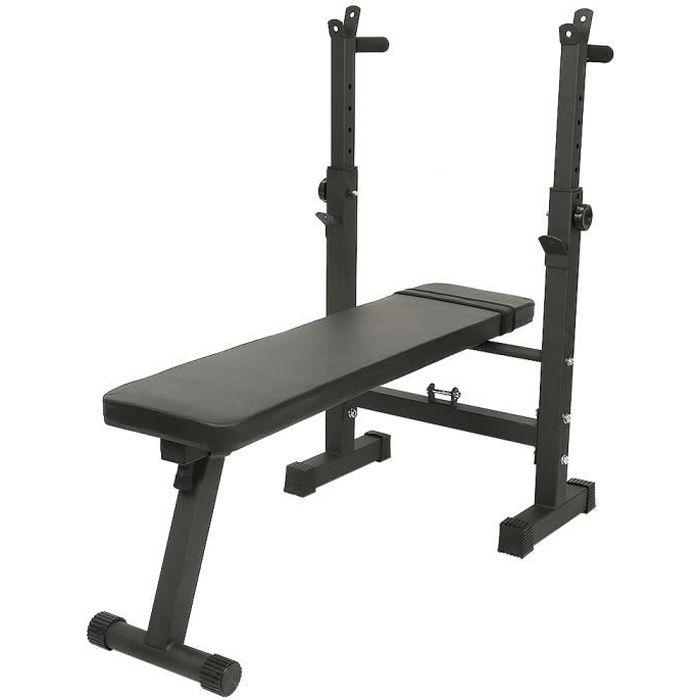 Noir Banc de Musculation Pliable Réglable avec Support de Barres pour Haltère Usages Multiples Gymnase à Domicile