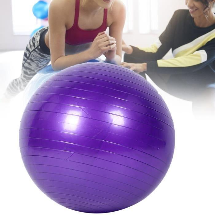XUY Boule de yoga salle de yoga pvc anti-déflagrant épaissie d'équilibre de sport balle de yoga une seule pièce violet (Violet 55cm)