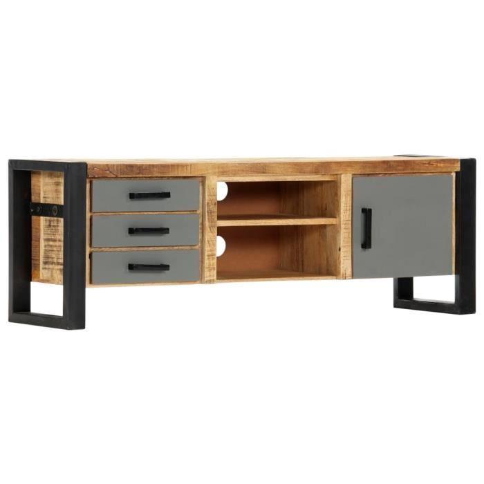 INGSHOP© Meuble TV 120 x 30 x 40 cm Bois massif de manguier Avec finition en métal sur la porte et les tiroirs