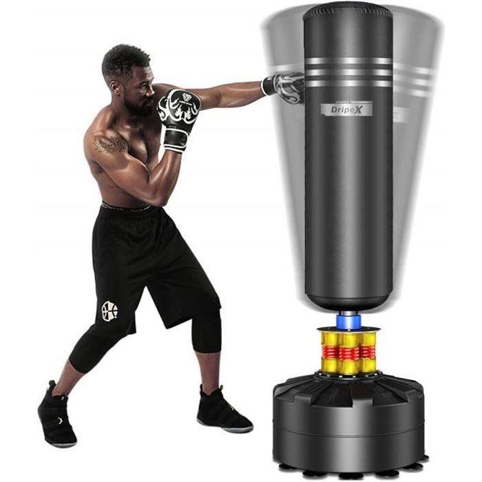 Sac de Frappe sur Pied Boxe Adulte Debout Libre Robuste Sac de Punching Kick Appareil d'entraînement - 1.75M - Noir