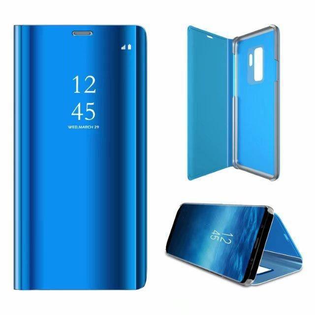 Etui pour Huawei P30 Pro. HOUSSE CHAUSSETTE bleu miroir de luxe vue claire sommeil intelligent réveil titulaire support de support