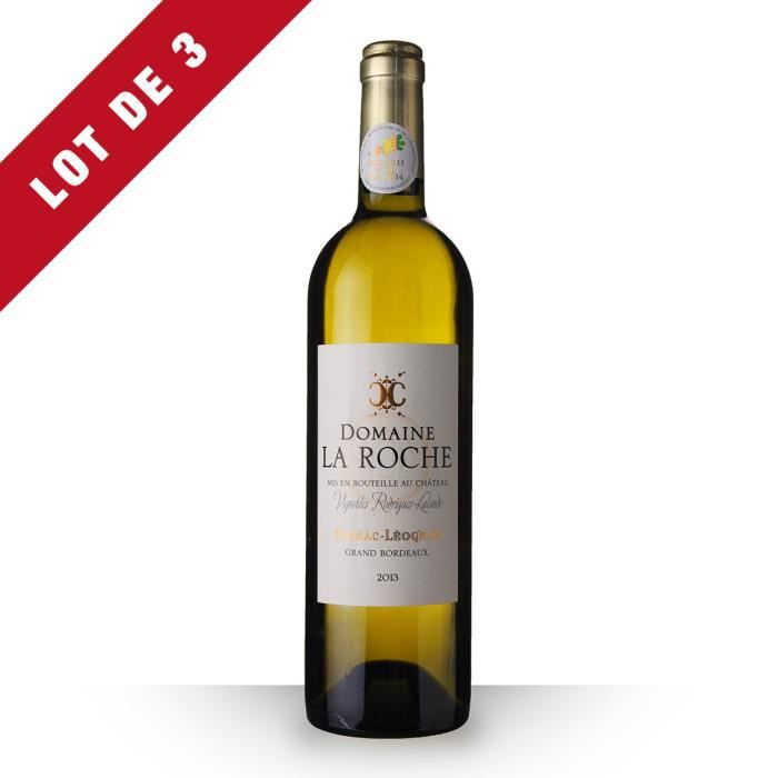 3X Domaine la Roche 2013 Blanc 75cl AOC Pessac-Léognan - Vin Blanc
