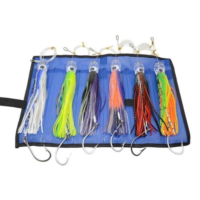 6 pieces 9 pouces leurres de peche en eau salee leurres a la traine pour le thon marlin dauphin mahi wahoo et durado, inclus