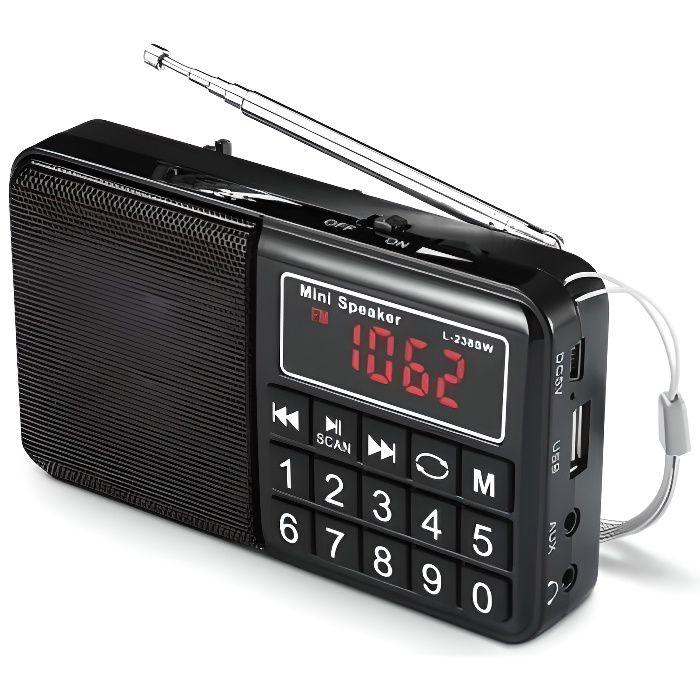 Réveil - - WE Radio grandes ondes AM / FM / SW Lecteur USB / Micro SD batterie rechargeable NOIR