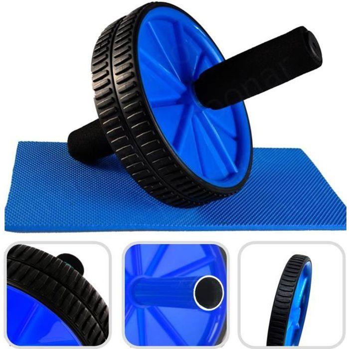 Ab Roller avec Tapis pour Genoux, Roue Abdominale, Bleu, Charge maximale: 100 kg