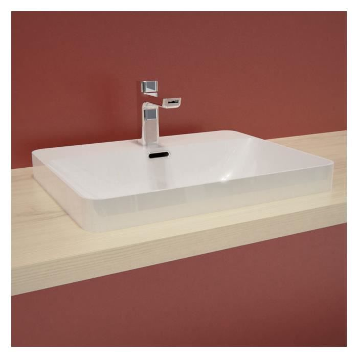 Vasque Salle De Bain Semi Encastrée Céramique Blanche L48 X P37 X H5/14,5 Cm Lea