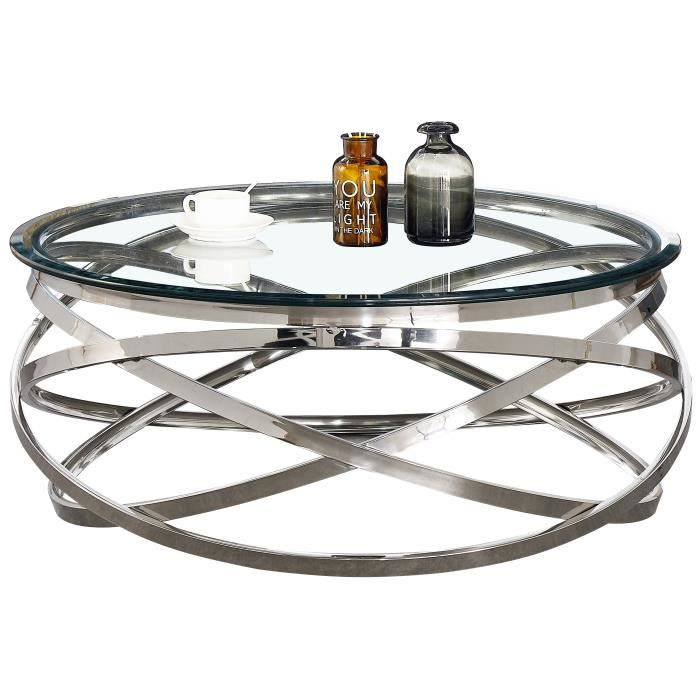 Table basse design rond avec piètement en acier inoxydable poli argenté et plateau en verre trempé transparent L. 100 x H. 43 cm