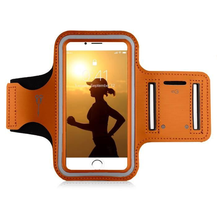 MyGadget Brassard Sport pour Smartphone 5,1- Apple Android Samsung - Armband léger pour Jogging - Sangle élastique réglable - Orange