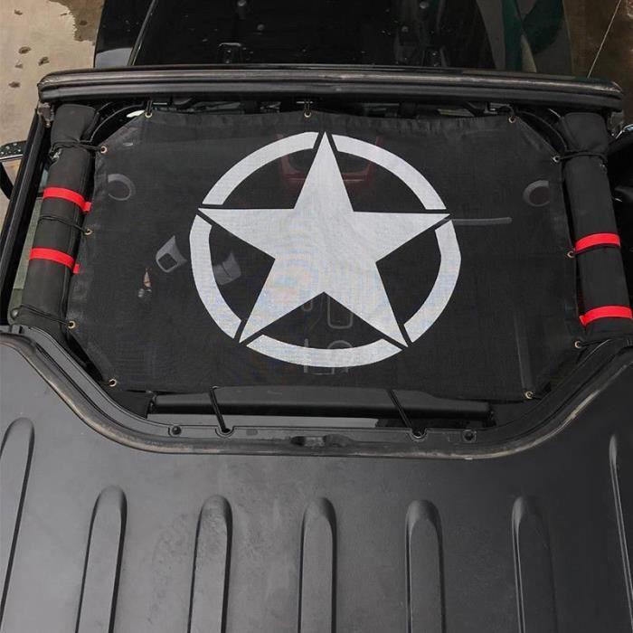 Ombre de soleil en maille noire pour Jeep Wrangler JK JKU - Filet de couverture pour toit en maille noire - Modèle: - ANZYBUA04378