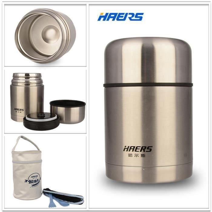 HAERS pot isotherme en acier inox de 600ml sac isotherme alimentaire conteneur vide Lunch Box Thermos Meg20169