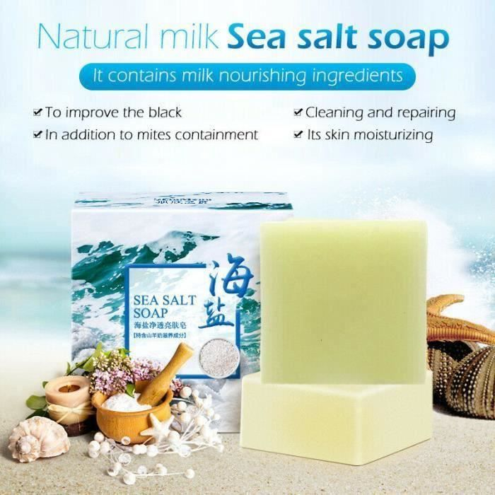 4pcs 100g Savon au sel de mer naturel au lait de chèvre, éliminer l'acné, la peau propre, rétrécit les pores, anti point~CC6686