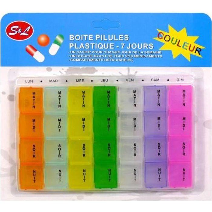 SECRETDRESSING - PILULIER, Semainier, Boite à PILULES, Médicaments Détachable 7 Jours en couleur