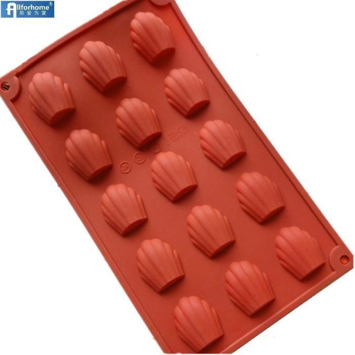 Moule à gateaux,Moule à gâteaux en Silicone 9-15 trous Coquille de Madeleine 3D, moule à pâtisserie, poêle - Type 15-Smaller Shell