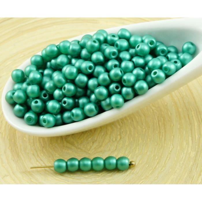 100pcs Nacré Vert Émeraude de la barbe à papa Ronde Verre tchèque Perles de Petite Entretoise de Graines de Rocailles 3mm