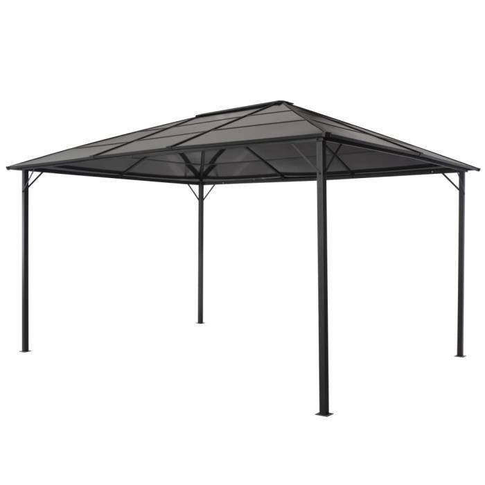 Tonnelle avec toit Aluminium 4x3x2,6 m Noir
