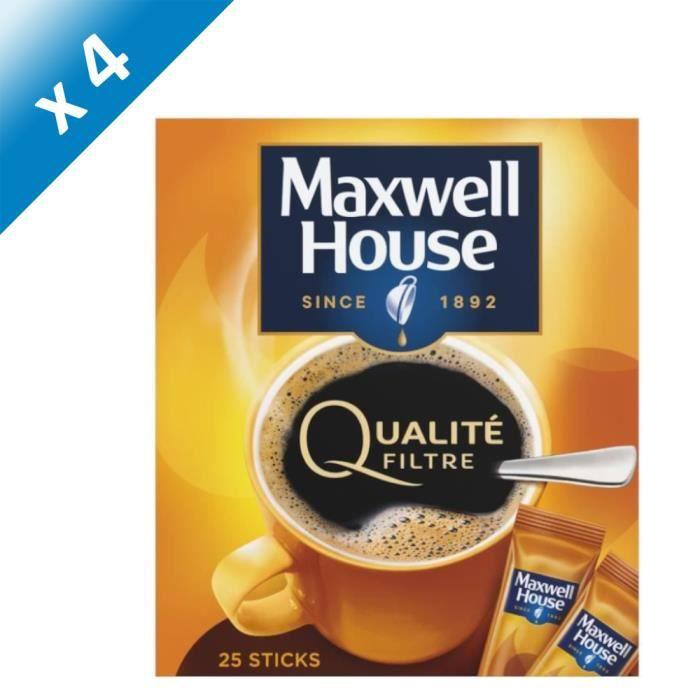[LOT DE 4] Café soluble lyophilisé Maxwell House - 25x 1,8 g