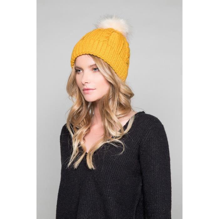 Bonnet à pompon PRALOUP - Couleur - Mustard, Taille - TU