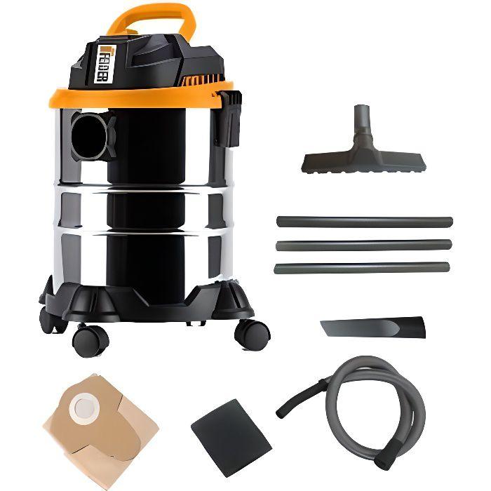FEIDER Aspirateur eau et poussière 1400 W 20 L - Cuve Inox FHAEP1420L