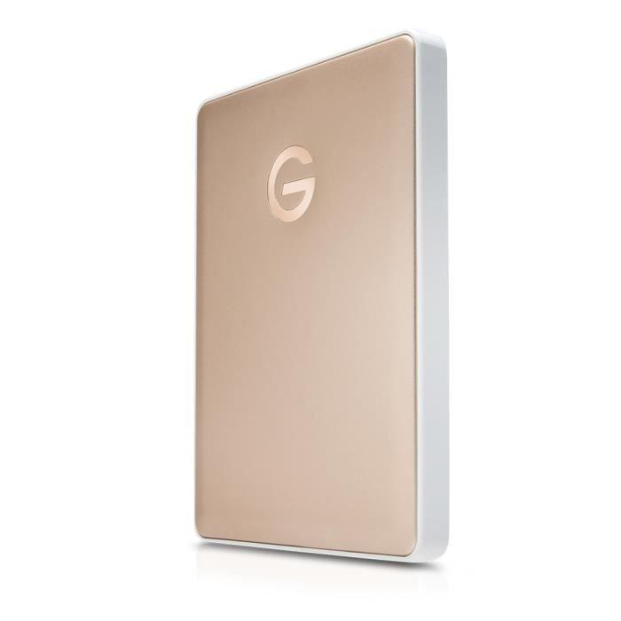 G-Technology mobile USB-C, 2000 Go, 2.5-, USB Type-C, 140 Mbit-s, Alimenté par port USB, Or