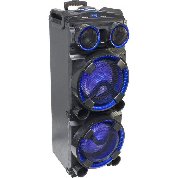 enceinte portable autonome a LED 2 x 12- /30cm avec fonction USB BLUETOOTH et micro VHF 300W noir