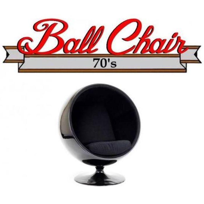 Fauteuil boule, Ball chair coque noir / intérieur feutrine noir. Design 70's. noir Velours Inside75