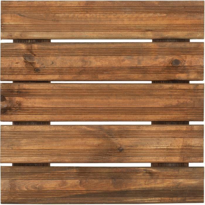 Dalle de terrasse en bois teinté 50cm motif droit