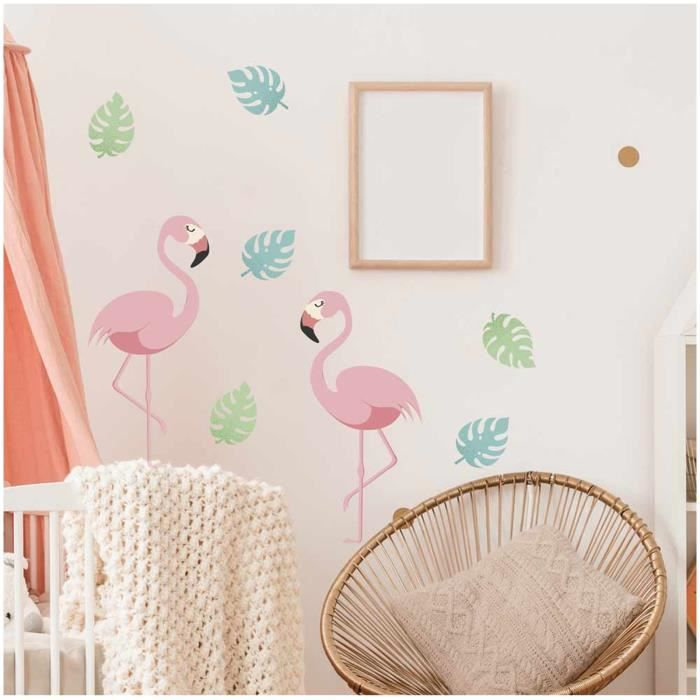 Planche de stickers 'Flamant Rose' multicolore - 20x70 cm [A1553]