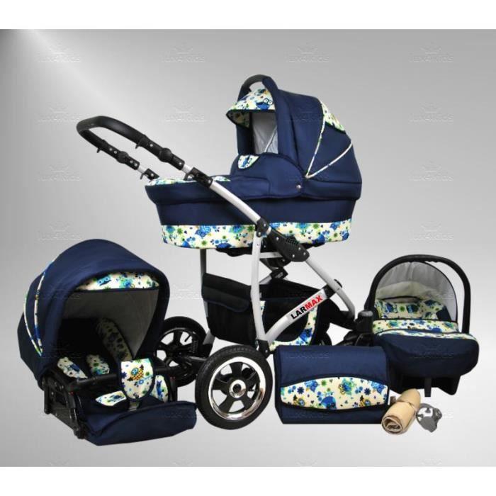 Larmax poussette combinée Set – hiver (chancelière, siège auto & ISOFIX, habillage pluie, moustiquaire, roues pivotantes) 96 bleu...