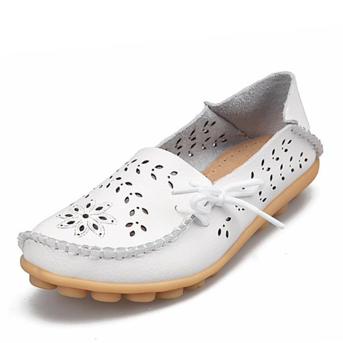 Chaussures Femmes ete Loafer Ultra Leger plate Chaussures LKG-XZ051Blanc41