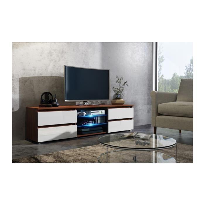 Meuble tv 150 cm noyer et façade blanc mat