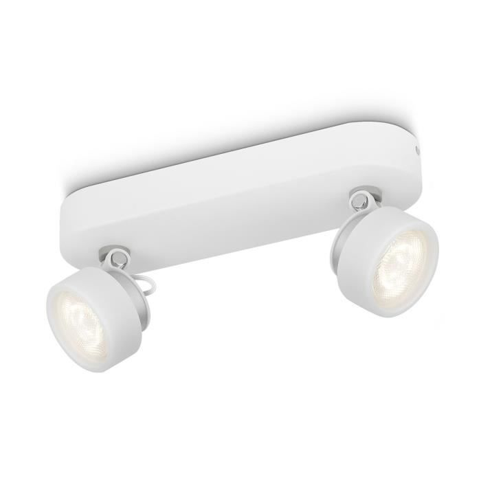 Philips myLiving Spot 532723116, Surfaced lighting spot, 2 ampoule(s), LED, 3 W, 2700 K, Blanc