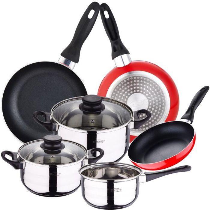 San Ignacio Toledo 8 pcs 5 pcs batterie de cuisine + 3 poêles tous feux dont induction casseroles seau