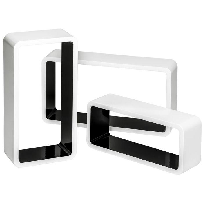 TECTAKE Lot de 3 Étagères Murales Design Moderne Cube Rectangulaire en Bois Brillant Blanc Noir