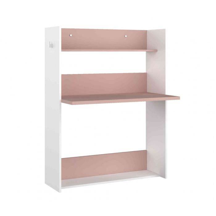Bureau enfant à paroi en bois blanc et rose - BU9017