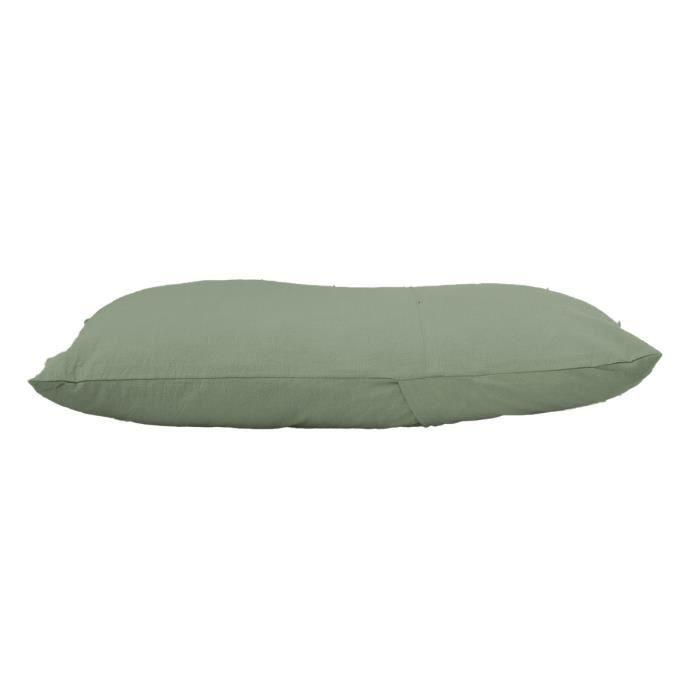 Coussin Hygge 45x75 cm coton lavé kaki 30 x 50 Vert