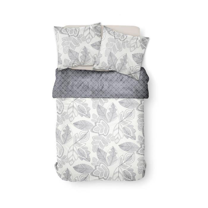 Parure de lit 2 personnes 240X260 Coton imprime beige Floral SUNSHINE