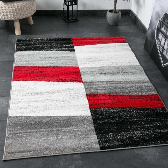 Tapis de Salon Géométriques Rouge Gris Blanc et Noir [120x170 cm]